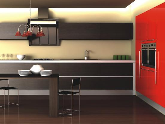 Contemporary-kitchen-with-dark-brown-wood-floor-red-stove-ceiling-handing-lamps