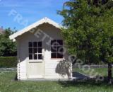花园原木小木屋-车棚, 云杉-白色木材