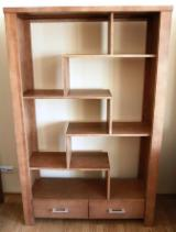 Contemporary Particle Board Pine Veneer, Lacquer Bookcase Poland