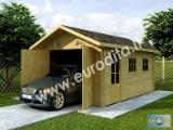 Wood Houses - Precut Timber Framing For Sale Italy - Carport - Garage, Spruce (Picea abies) - Whitewood