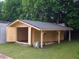 Wood Houses - Precut Timber Framing Spruce Picea Abies - Whitewood Germany - Carport - Garage, Spruce (Picea abies) - Whitewood