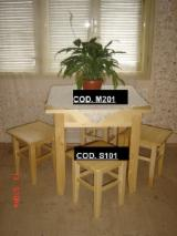 Country Kitchen Furniture - Country Spruce (Picea Abies) - Whitewood Kitchen Sets in Romania
