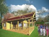 木质部件,木线条,们窗,木质房屋 - 木框架房屋, 云杉-白色木材