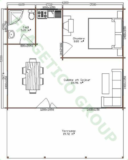 Wooden house FRG 40+20T