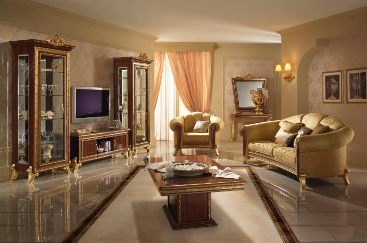 Salotto di design in stile classico for Disegni di log casa stile ranch