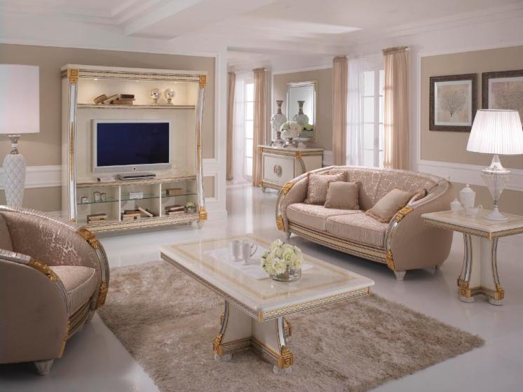 Salotto di design in stile classico liberty - Arredare casa bianco e beige ...