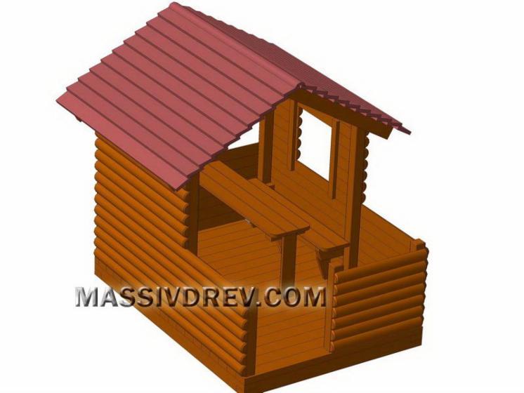 Caba a para ni os pino silvestre madera roja for Cabana madera ninos