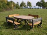 Garden furniture in reinforced concrete wood imitation