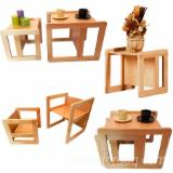 Tables Living Room Furniture - Beech Multifunctional Table & Chair Set