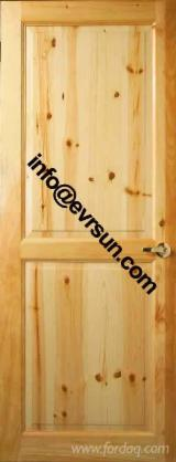 2 panel knotty pine door, solid pine door, with clear lacquer