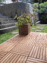 Exterior Decking  For Sale China - teak garden tiles with interlocking PVC backing