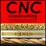 Bent Wood, Curved Wood - Elements bent, twisted, spiral - Any shape milled CNC machining center axial 3D-4