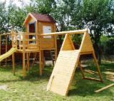 Leagăne - Loc de joaca din lemn pentru copii (hinta leagan tobogan)