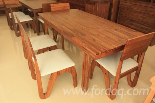 Vend ensemble table et chaises pour salle manger design feuillus europ ens acacia - Ensemble tafel et chaise salle a trog ...