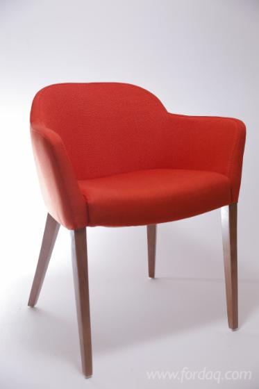 Red Armchairs for Bars and Restaurants, Beech