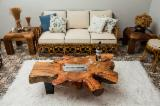 B2B Living Room Furniture For Sale - Join Fordaq For Free - Fireplace - Brazilian hardwood root cocktail table with fireplace