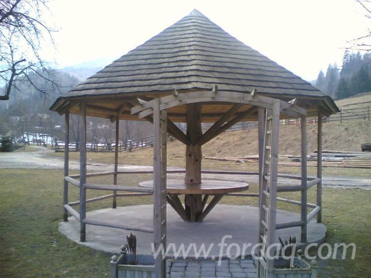 Abeto madera blanca kiosco puesto for Kiosco de madera para jardin