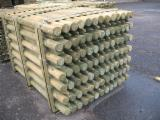 Siberian Pine Softwood Logs - Machine rounded and debarked pointed palisades