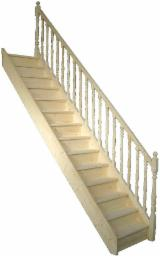 ISO-9000 Certified Finished Products - White wood interior stairs and stair parts