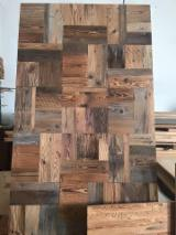 Engineered Wood Flooring - Multilayered Wood Flooring Italy - FIR MOSAIC original upper flat blue/grey for walls and floors