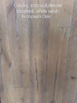 Engineered Wood Flooring - Multilayered Wood Flooring - European oak smoked,deeper brushed,white wash
