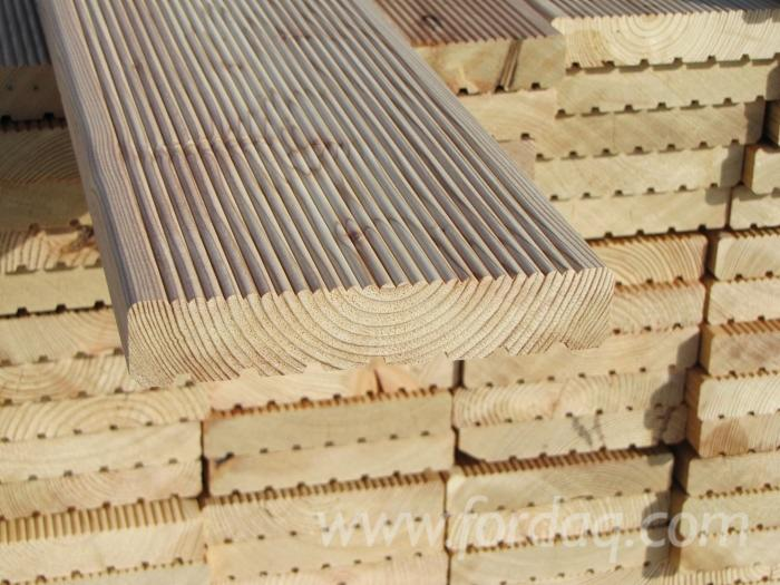 Wholesale larch larix spp exterior decking anti slip for Smooth hardwood decking boards