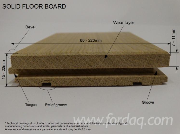 Deska podłogowa, parkietowa, dąb, dębowa, lita, 15x90x500-1200mm