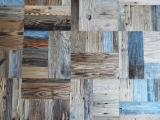 Engineered Wood Flooring - FIR MOSAIC original patina blue/grey for walls and floors