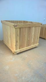 Wooden garden furniture and garden elements.