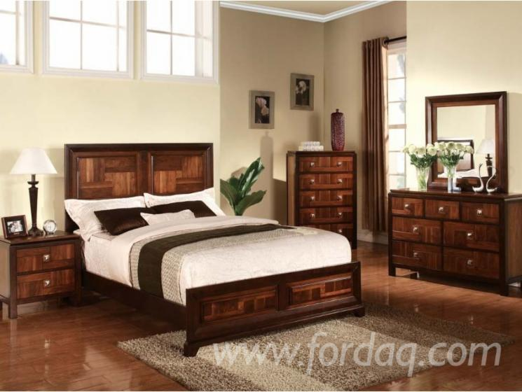 Walnut Acacia Panel Bedroom Sets Furniture