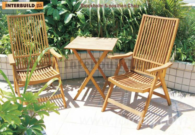 Comfortable 5 Position Chair Set Solid Wood Outdoor Patio