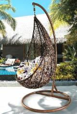 Art & Crafts/Mission Garden Furniture - All Weather Wicker Swing Hanging Chair, Poly Rattan Outdoor Furniture