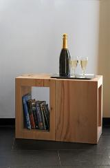 Solid wood Side Table with Storage compartment