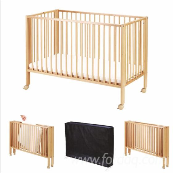 Foldable babybed from solid Beech
