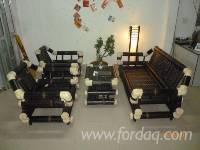 Bamboo Brown Living Room Sofa Set