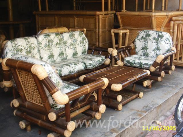 Bamboo Brown Living Room Sofa Set