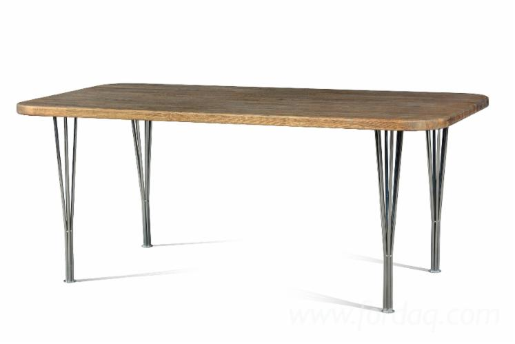 Dining and coffee tables from solid oak with metal frames