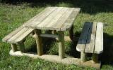 Pine  - Redwood Garden Furniture - Table with fixed benches