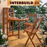 Garden Furniture - Small Space Solution Range - Slat Small Wall Table Set FSC Solid Wood Outdoor Furniture