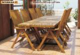 Garden Furniture - Stockholm 280cm Drop Leaf Table set-Comfortable Solid Wood Outdoor Furniture