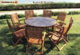 Garden Furniture - FSC Solid Wood Roulette ∮150cm Table with 8 Chairs