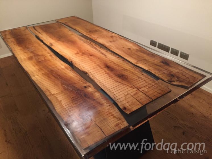 Tavoli in legno e resina epossidica - Resina per mobili ...