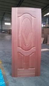 6 panel Sapele molded HDF door skin/ sapelli veneer HDF door face