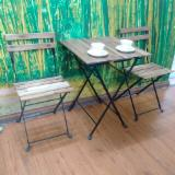 Garden Furniture - Acacia and Metal Table and Chairs for Garden - Wood Furniture