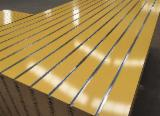 null - 15-18mm Solid Color Melamine MDF Slotted Board/Slatwall with Aluminium Bar