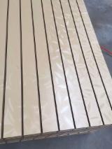 null - Hot Sale, 15mm Leaves Design Melamine MDF Slatwall with Aluminium Bar