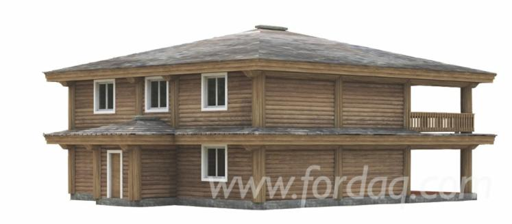 Two story log house with balcony and terrace made of pine for Two story house with terrace