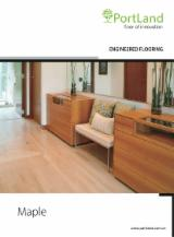 Engineered Wood Flooring - Engineered Maple Flooring, Three Strips Wide, 14 mm thick