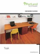 Engineered Wood Flooring - Multilayered Wood Flooring - Engineered Teak Flooring, Three Strip Wide, 14 mm thick
