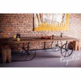 Traditional Living Room Furniture - Old Oak Table On Reclaimed Wheels